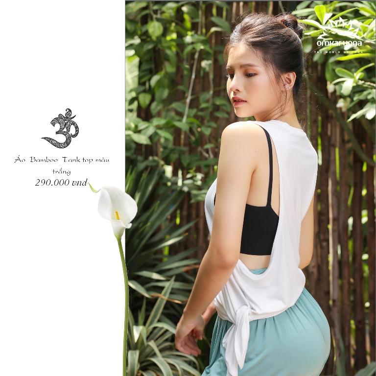 Áo tập Yoga tanktop xẻ tà sườn họa tiết chữ Om
