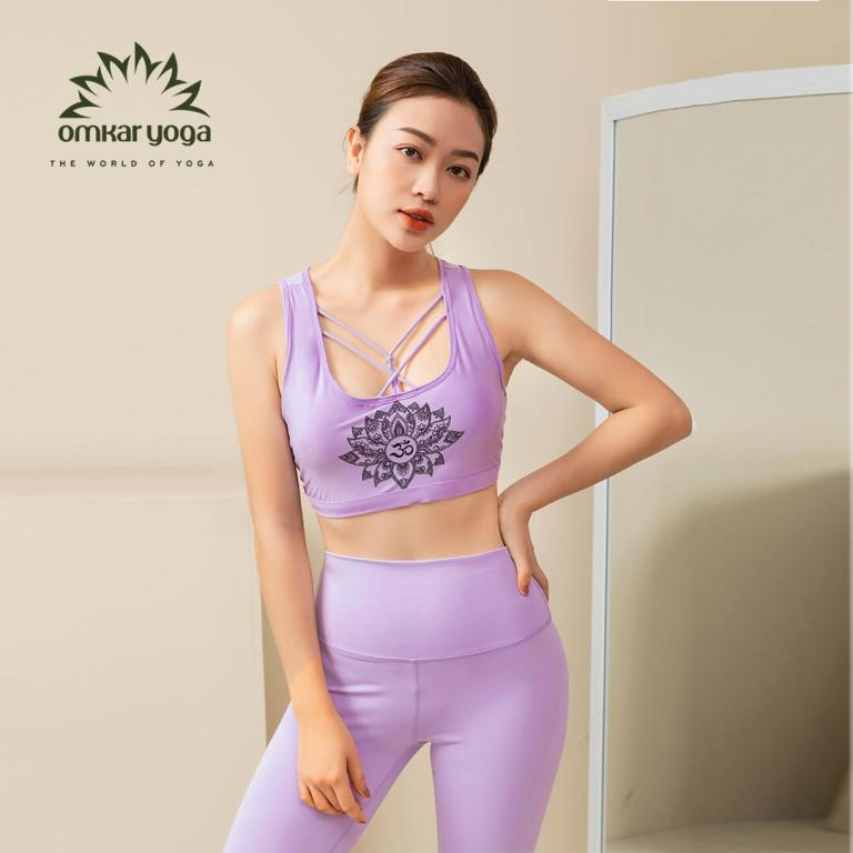 Áo tập Yoga croptop họa tiết hoa sen