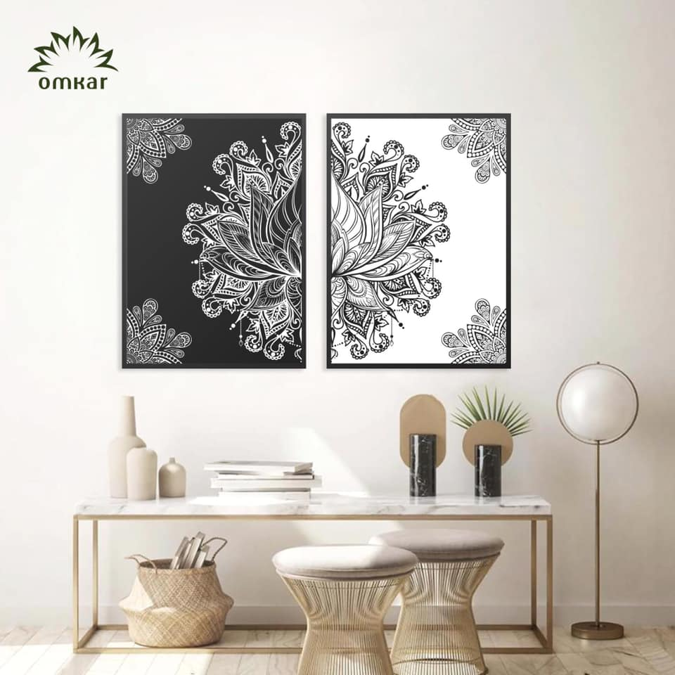 Cặp tranh canvas Mandala Đen Trắng