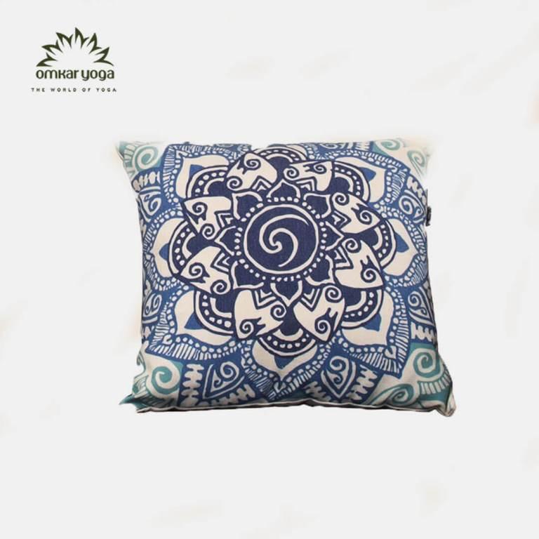Gối Yoga trang trí họa tiết hoa Mandala xanh ngọc