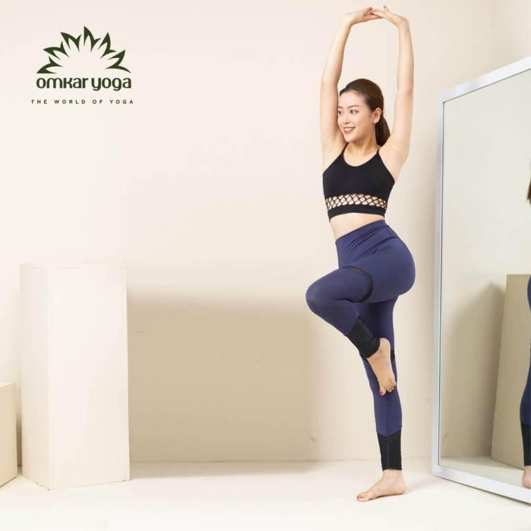 Quần tập Yoga cắt chéo phối màu