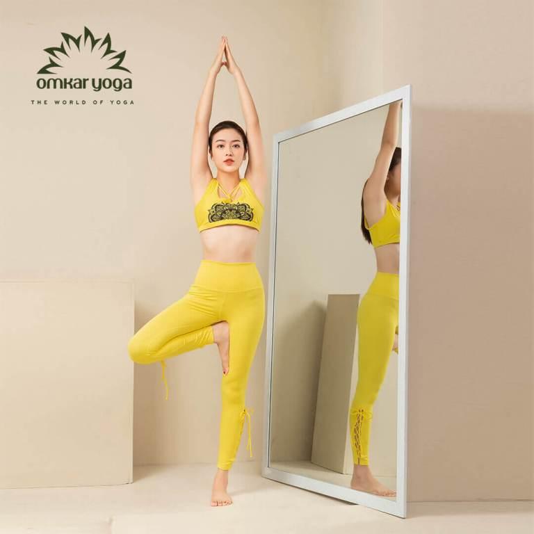 Quần tập Yoga legging hoạ tiết đan dây chéo