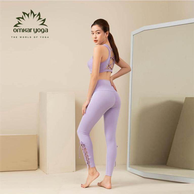 Quần tập Yoga legging họa tiết dây đan chéo