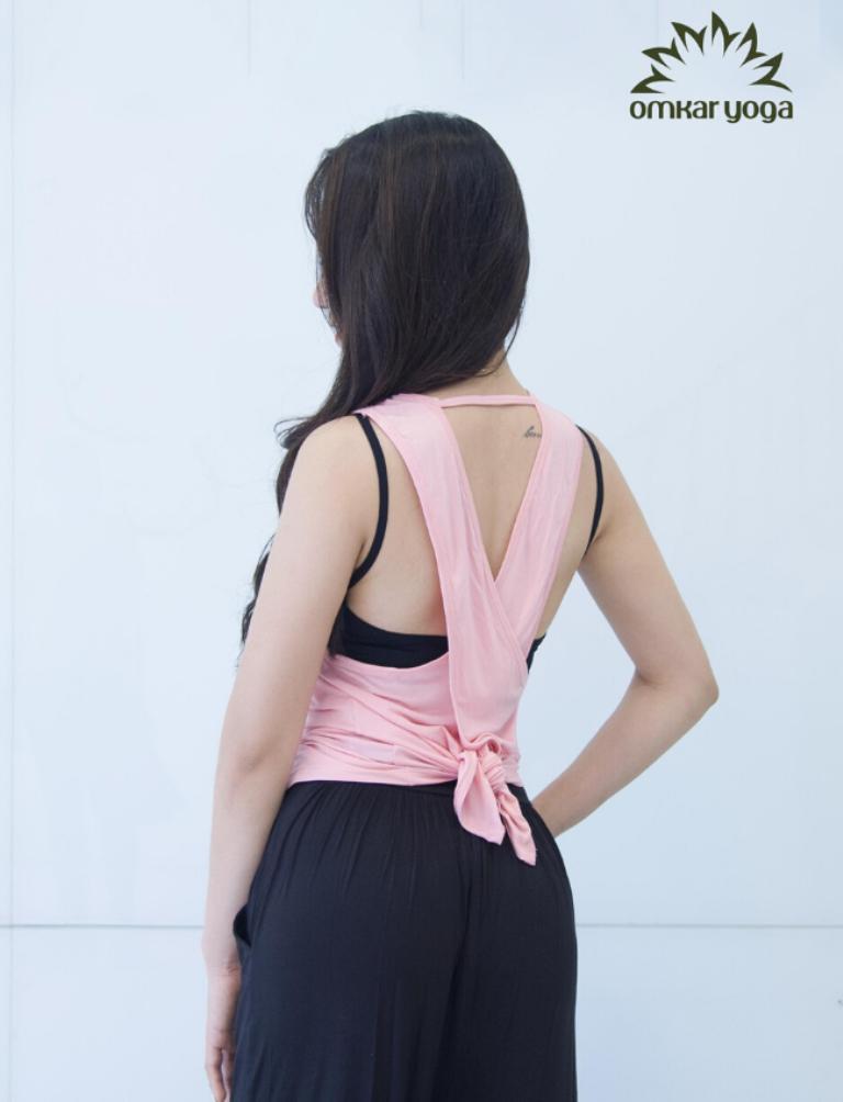 Áo Tập Yoga Tanktop Vạt Chồng Họa Tiết Sen