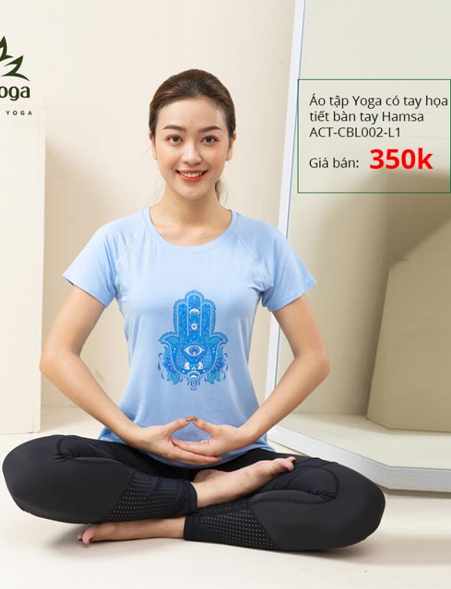 Áo Tập Yoga Có Tay Họa Tiết Bàn Tay Hamsa