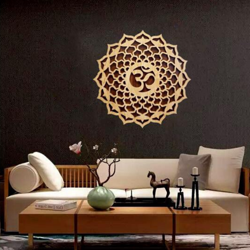 Điêu khắc gỗ Mandala chữ Om treo tường