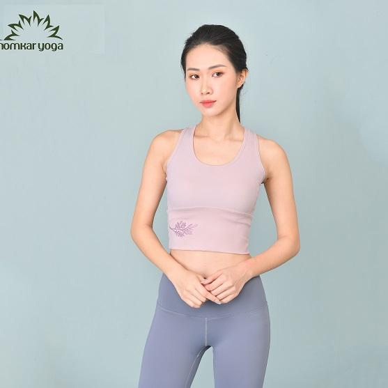 Omkar Yoga - Áo tập Hoa Tử Đằng màu hồng nude
